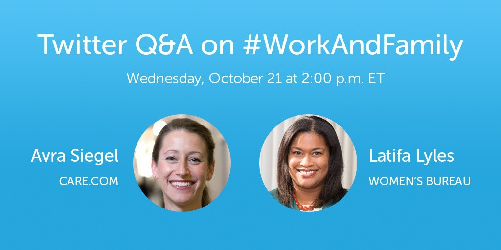 use the hashtag #WorkAndFamily to join the conversation